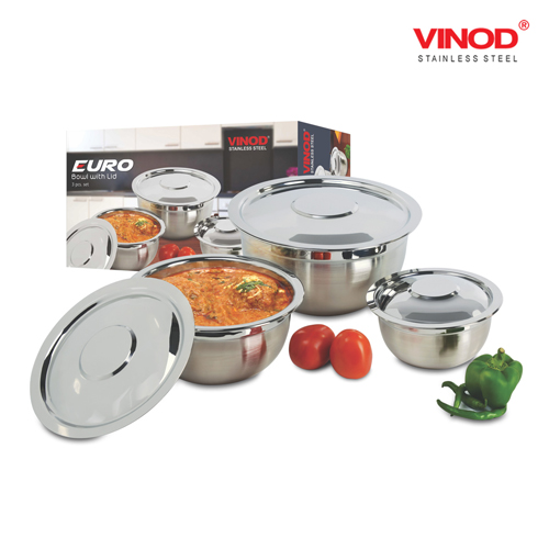 VINOD 3 PCS. EURO BOWL SET with cover