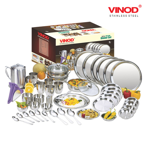 VINOD 55 PIECES TWO TONE DINNER SET FOR SIX PERSON