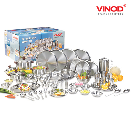 VINOD 61 PIECES TWO TONE DINNER SET FOR SIX PERSON