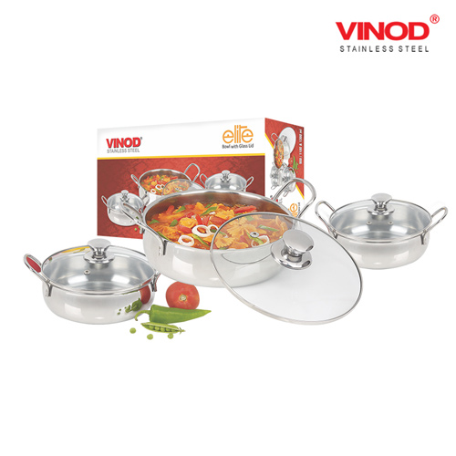 VINOD ELITE BOWL with glass lid 3 pcs set